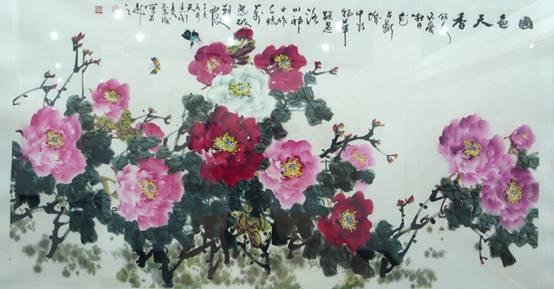 经典诗句内容水墨画-出版有《华魁牡丹画集》及牡丹画光盘,其作品被艺术与收藏、美术大